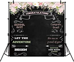 Allenjoy 8x8ft Congratulate Graduation Backdrop Class of Congrats Grad Floral Chalkboard for College Prom Pictures Candy Table Dessert Party Ceremony Decor Banner Event Photo Booth Shoot Background