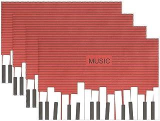QIANGU Set of 4 Music Piano Keyboard Red Placemats Dining Ta