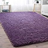 GaoTuo Alfombras Suaves de Terciopelo, alfombras Modernas y esponjosas, Lindas alfombras de Dormitorio peludas, adecuadas para su Uso como alfombras de Dormitorio(púrpura,80x120cm)