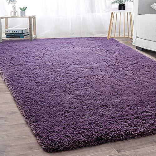 GaoTuo Alfombras Suaves de Terciopelo, alfombras Modernas y esponjosas, Lindas alfombras de Dormitorio peludas, adecuadas para su Uso como alfombras de Dormitorio(púrpura,120x160cm)