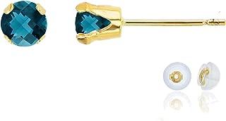Solid 10K Yellow, White or Rose Gold 4mm Round Genuine Gemstone Birthstone Stud Earrings