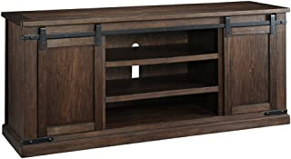 Ashley Furniture Signature Design - Budmore Extra Large TV Stand - Sliding Barn Doors - 70 Inch - Rustic - Brown