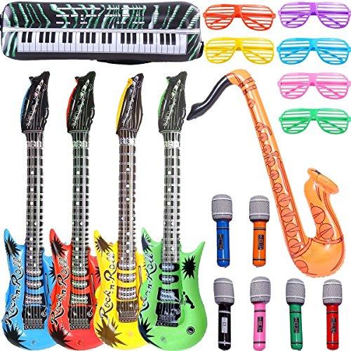 GuassLee Gonfiabile Rock Star Toy Set - Puntelli gonfiabili da 18 pezzi - 4 Chitarre gonfiabili, 6 microfoni, 6 vetri oscuranti, 1 Sassofono e 1 gonfiabile Tastiera Pianoforte Giocattoli gonfiabili