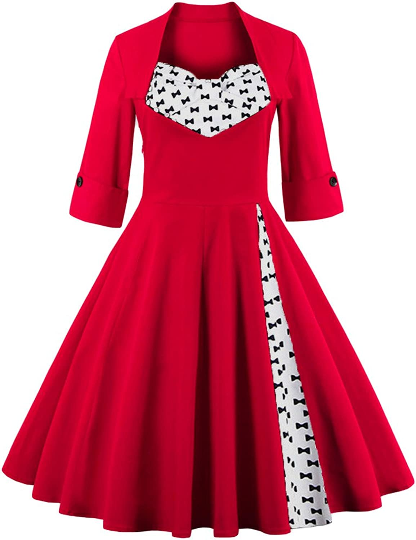 Eudolah Women's Vintage Half Sleeves Sexy Retro Party Swing Dress