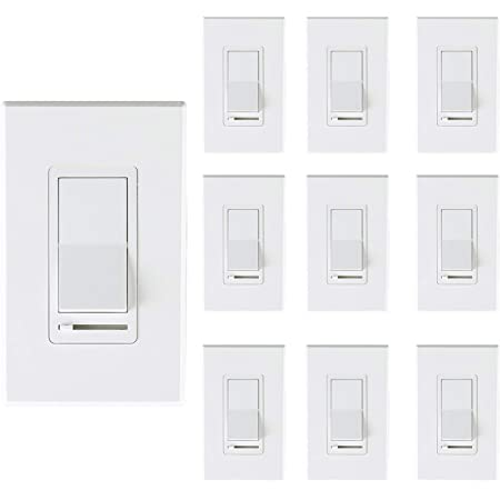 [10 Pack] Cloudy Bay 3-Way/Single Pole Dimmer Electrical Light Switch for 150W LED/CFL, 600W Incandescent/Halogen,Wall Plate Included,Pack of 10