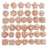 Your Perfect Gifts 40 pcs Rose Gold Rhinestone Brooches Set Crystal Brooch Wedding Invitation Brooch Bouquet DIY kit Wholesale Lot AMBR663