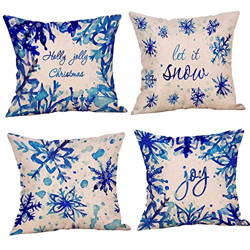 Blue Christmas Snowflake let it Snow Cotton Linen Decorative Throw Pillow Case Cushion Cover Pillow case 18' X18 Throw Pillow Cover, Set of 4