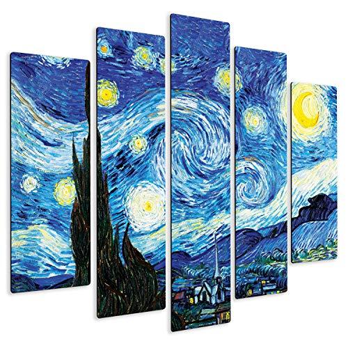 Giallobus - Pintura de Paneles múltiples 5 Piezas - Vincent Van Gogh - Noche Estrellada - Imprimir en Madera MDF - Pronto da appendere - 140x100 cm