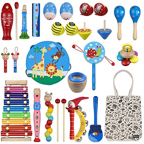Anpro 27pcs Musical Instruments for Toddlers, Wooden Percussion Instruments Toy Set with Canvas Bag, Best Gift for Children Over 3 Years Old