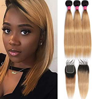 Mother's Day Gifts Peruvian Silky Straight 4 Bundles with 4x4 Lace Hair Closure Ombre Blonde 1b/27# Dark Root Honey Blonde 50g/Bundle Virgin Human Hair Lace Frontal Closure(10 10 12 12+10closure)