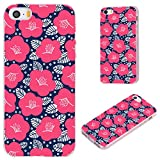 iPhone SE Case,iPhone 5S Case,iPhone 5 Case,VoMotec [Floral series] Anti-scratch Slim Flexible Soft TPU Protective Skin Cover Case For iPhone 5 5S SE,pink camellia pattern on navy background