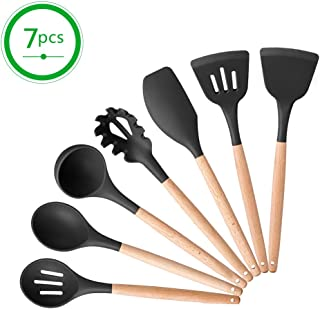 Silicone Kitchen Utensil Wooden Kitchen Utensil Set-7 Pcs Utensil Set Natural Wooden Handles Cooking Tools For Nonstick Cookware Non Toxic Turner Tongs Spatula Spoon Set-BPA Free.