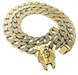 Thick Miami Cuban Link 30' Chain Necklace with Pendant (King TUT Gold)