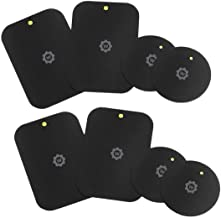 WizGear Mount Metal Plate with Adhesive for Magnetic Cradle-less Mount -X4 Pack 2 Rectangle and 2 Round (Compatible mounts) (8 Pack - Black)