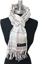 New 100% Cashmere Striped Scarf Wrap Scotland Check Plaid Check Mauve - Cream - Beige - Blue Soft Shawl