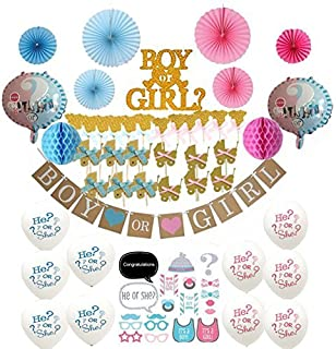 66-Pc Gender Reveal Party Supplies - Baby Reveal Decorations, 20pc Photo Booth Props, Cake Set - Banner + Pink and Blue Fans & Honeycomb Balls + Cake & Cupcake Toppers + Balloons
