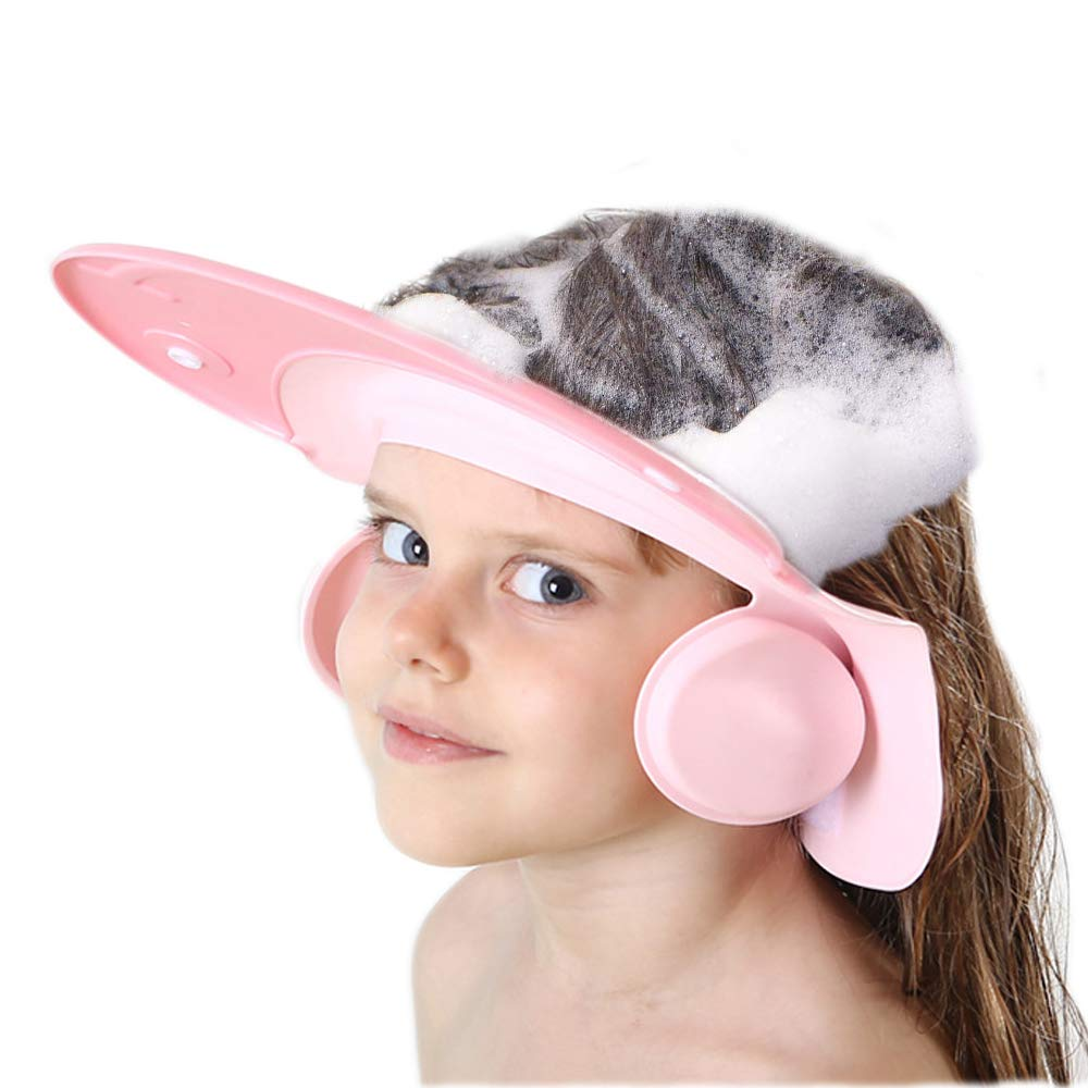Bath Cap wash Shower Shampoo Visor hat Prevent Water Entering The Eyes and Ears Adjustable Bathing tub Head Hair Rinser Shield Protection Kids Children Toddler Beach Baby Safety(Pink)