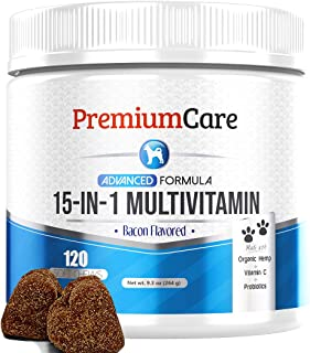 15 in 1 Dog Multivitamin - Made in USA - Essential Dog Vitamins with Hemp, Probiotics, Omega 3 for Dogs - Brain, Heart & I...
