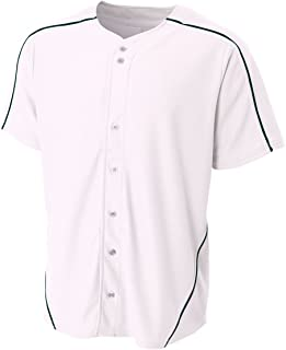 A4 Sportswear Full Button Piping Jersey Custom or Blank Baseball Youth/Adult Pro-Style Shoulder Uniform, 14 Colors