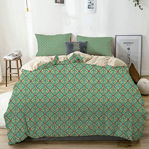 Duvet Cover Set Beige,Turquoise Vintage Foliage Leaf Print,Decorative 3 Piece Bedding Set with 2 Pillow Shams Easy Care Anti-Allergic Soft Smooth
