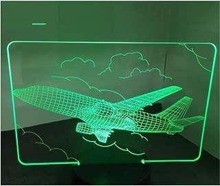 3D ilusión led Luz de noche Air Plane Light Table Night Light 7 colores cambiantes Mood Powered USB Luz de noche