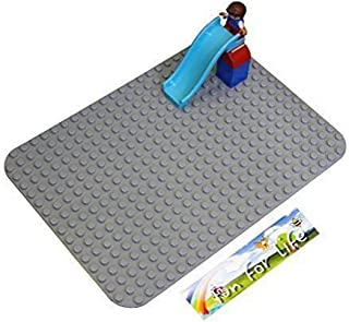 Fun For Life - Compatible 15'' x 10' Grey Baseplate fit with Classic DUPLO ,Mega Bloks-Compatible Brick Building Base, Baseplate only