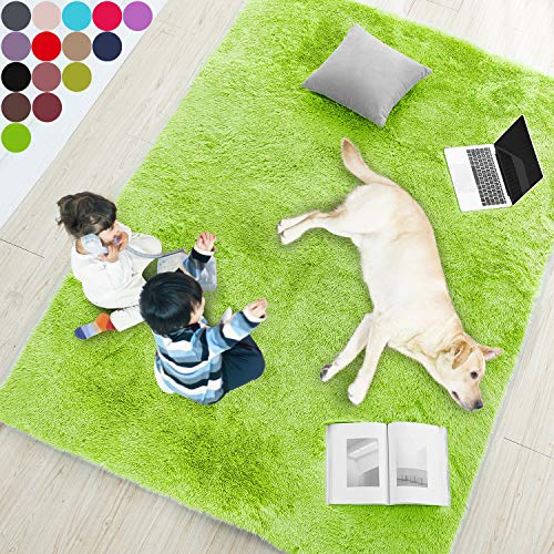 Lime Green Soft Rug for Bedroom,5'X7',Fluffy Area Rug for Living Room,Furry Carpet for Kids Room,Shaggy Throw Rug for Nursery Room,Fuzzy Plush Rug,Green Carpet,Rectangle,Cute Room Decor for Baby