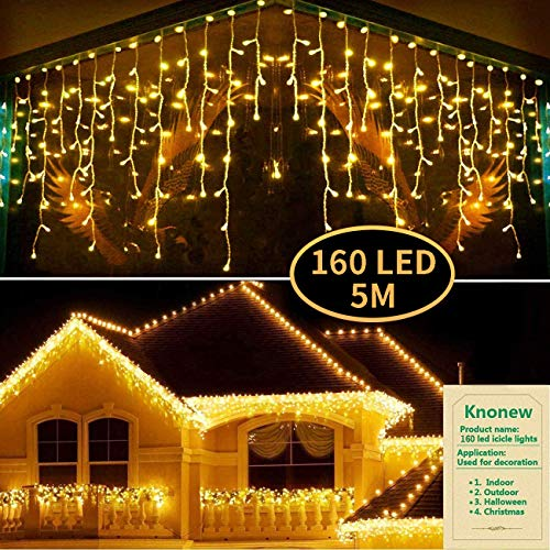 KNONEW LED Icicle Lights, 160 LEDs, 5M/16.5ft, 8 Modes Curtain Fairy Light with 32 Drops, LED String Decor for Christmas/Thanksgiving/Easter/Halloween/Party Backdrops Decorations (Warm White)