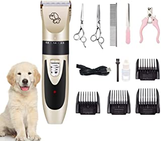 POPETPOP Dog Clippers Grooming Kit - Low Noise Pet Clippers Rechargeable Dog Trimmer Cordless Grooming Tools Set Professio...