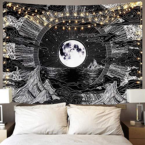 Wandteppich,Mond und Stern Tapestry Wandbehang,Schwarz Wandtuch,Psychedelisch Berg Wall Tapisserie,Wolken Wandteppich Wall Hanging Wandkunst Dekoration für Wohnzimmer Schlafzimmer Home.(L/148X200cm)