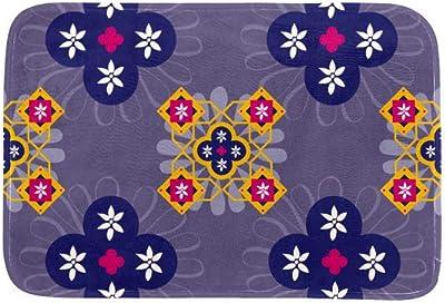 EGGDIOQ Doormats Marrakech Ornate Tile Custom Print Bathroom Mat Waterproof Fabric Kitchen Entrance Rug, 23.6 x 15.7in