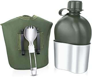 BeGrit Outdoor Kettle Canteen Aluminum Cup Kit and Cover with Stainless Steel Foldable Spoon Fork for Hiking Camping, 1 Quart