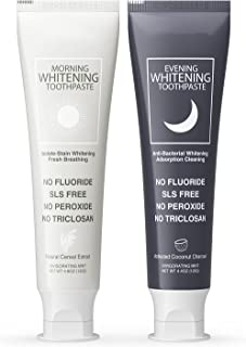 Charcoal Toothpaste Whitening Set , Pack of 2 , Fluoride Free Mint Toothpaste , Activated Charcoal Toothpaste Removes Stai...