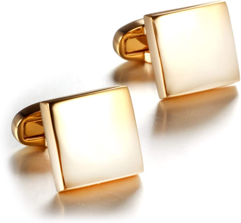 Daesar Cufflinks Wedding Party Mens Cuff Links and Shirt Studs Cufflinks Groom Square Gold Cuff Links and Studs