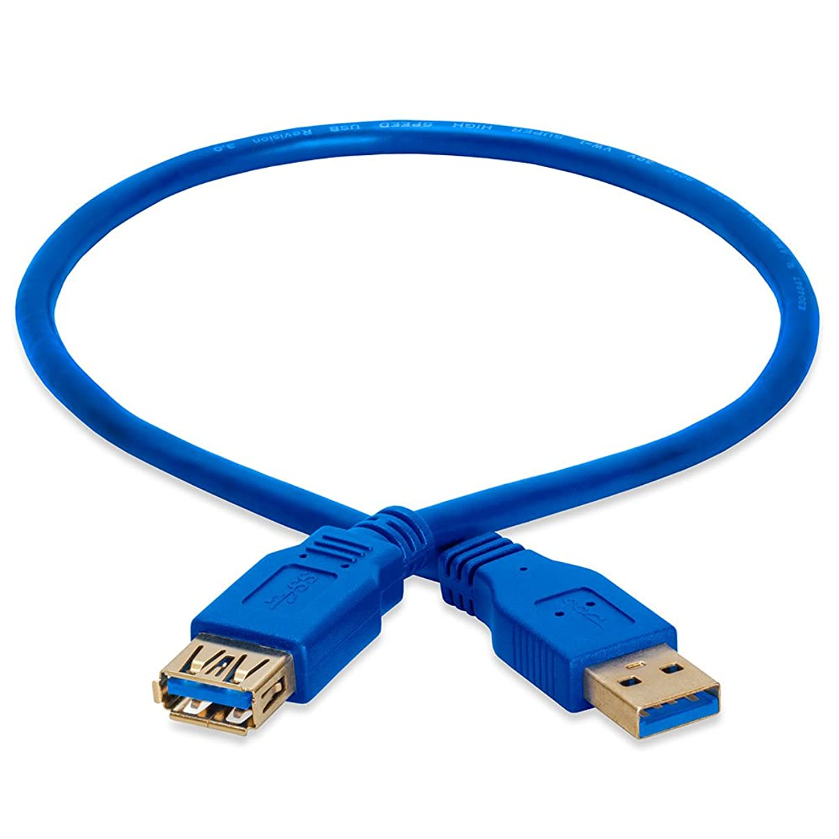 Cmple - USB 3.0 A Male to A Female Extension Gold Plated Cable - 1.5FT (Blue)