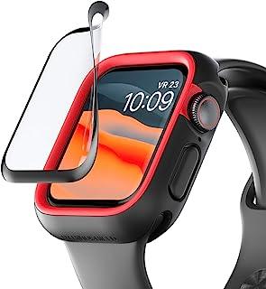 RhinoShield Apple Watch 4 / 5 / 6 / SE [44mm用] 画面保護シート| 何も装着していない画面の3倍の耐衝撃性 - 3D曲面のエッジで端までしっかり保護 - 耐久性が高く傷にも強い