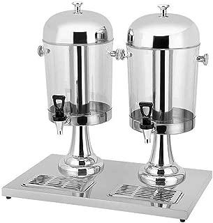 4.2-Gallon Beverage Dispenser, 8Lx2 Hot Cold Drink Beverage Dispenser Machine Tea Juice Drink Machine 2 Compartment Beverage for Hotel Home Commercial Use (Silver)