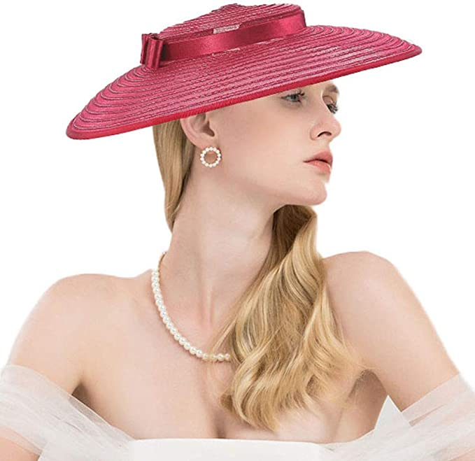 1950s Women's Hat Styles & History F FADVES Fascinators for Women Elegant Wide Brim Kentucky Derby Church Wedding Hat  AT vintagedancer.com