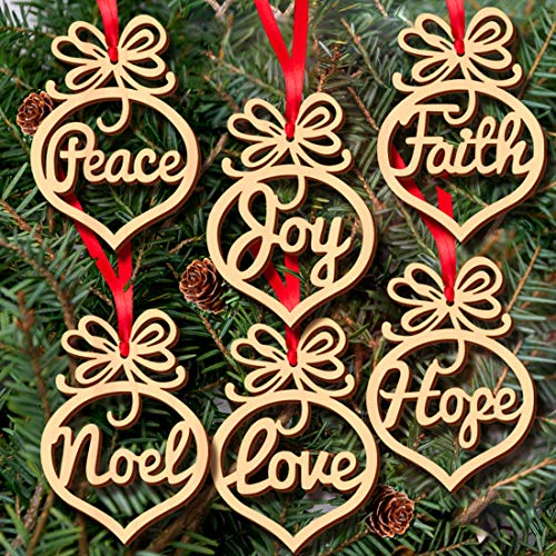 Alove Ditto 48 Pack Hollow Wood Letter Ornaments for Church Party Christmas Tree, Wedding Favor, Birthday Decoration