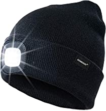oumeiou 4 LED Headlamp Beanie Cap, Winter Warm Beanie Hat Hands Free Lighted Beanie Cap with 3 Brightness Level for Walking at Night, Camping, Dog Walking, Biking (Black)