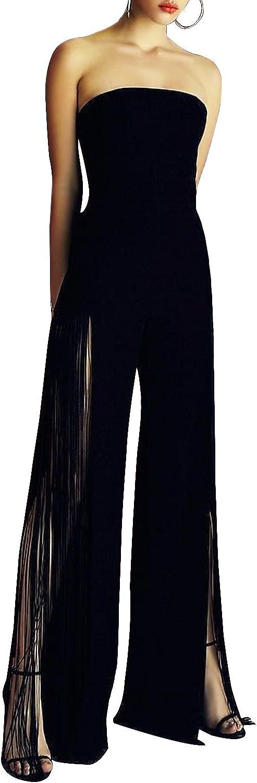 Hego Women's Wide Leg Slit Tassel Strapless Jumpsuits Black BH5331