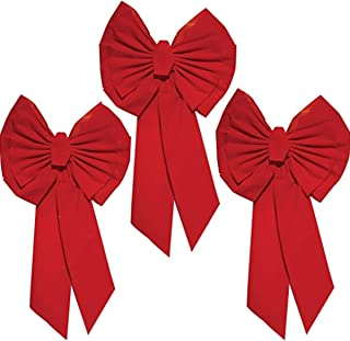 "Rocky Mountain Goods Red Christmas Bow Extra Large 35"" by 18"" - 11 Looped Waterproof Velvet Large Outside Bow - Bow for car, Door, House - Jumbo Red Bow with Attachment for Hanging (3)"