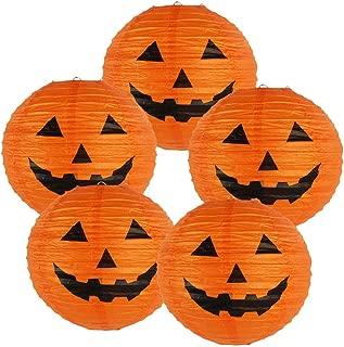 Just Artifacts 16-Inch Orange Halloween Pumpkin Paper Jack-O'-Lantern/Lamp 16-Inch Diameter (Set of 5, 16inch, Orange Paper Jack-O'-Lantern) - Just Artifacts Brand