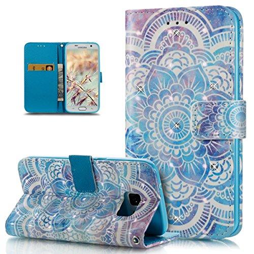 ikasus Coque Galaxy S7 Etui,Bling Brillant Diamants 3D Art coloré peinte Housse Cuir PU Housse Etui Coque Portefeuille supporter Flip Case Etui Housse Coque pour Galaxy S7,Fleur de mandala