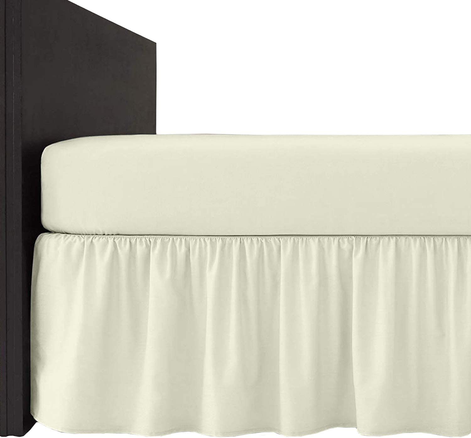 Homely Ideas 4 Ft Frilled Valance Fitted Bed Sheets 100/% Poly Cotton Plain Dyed Easy Care Bedding And Linen. Cream, 4ft. Frilled Valance Sheet