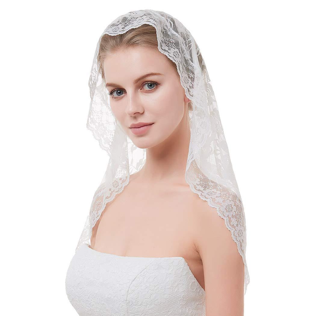 Brinote Lace Mantilla Bride Wedding Veil 1T Catholic Veil Short Church Bridal Veil Shoulder Length Flower Edge Hair Accessories for Brides (Ivory)