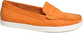 Driver Club USA Women's Leather Made in Brazil Penny Loafer Deck Shoe Boat, Orange Nubuck, 5 M US