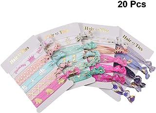 Lurrose Unicorn Knotted Hair Ties Elastics Ponytail Holders Hair Ribbon Band Bracelet para niña 20 pcs Pattern Patrón mixto