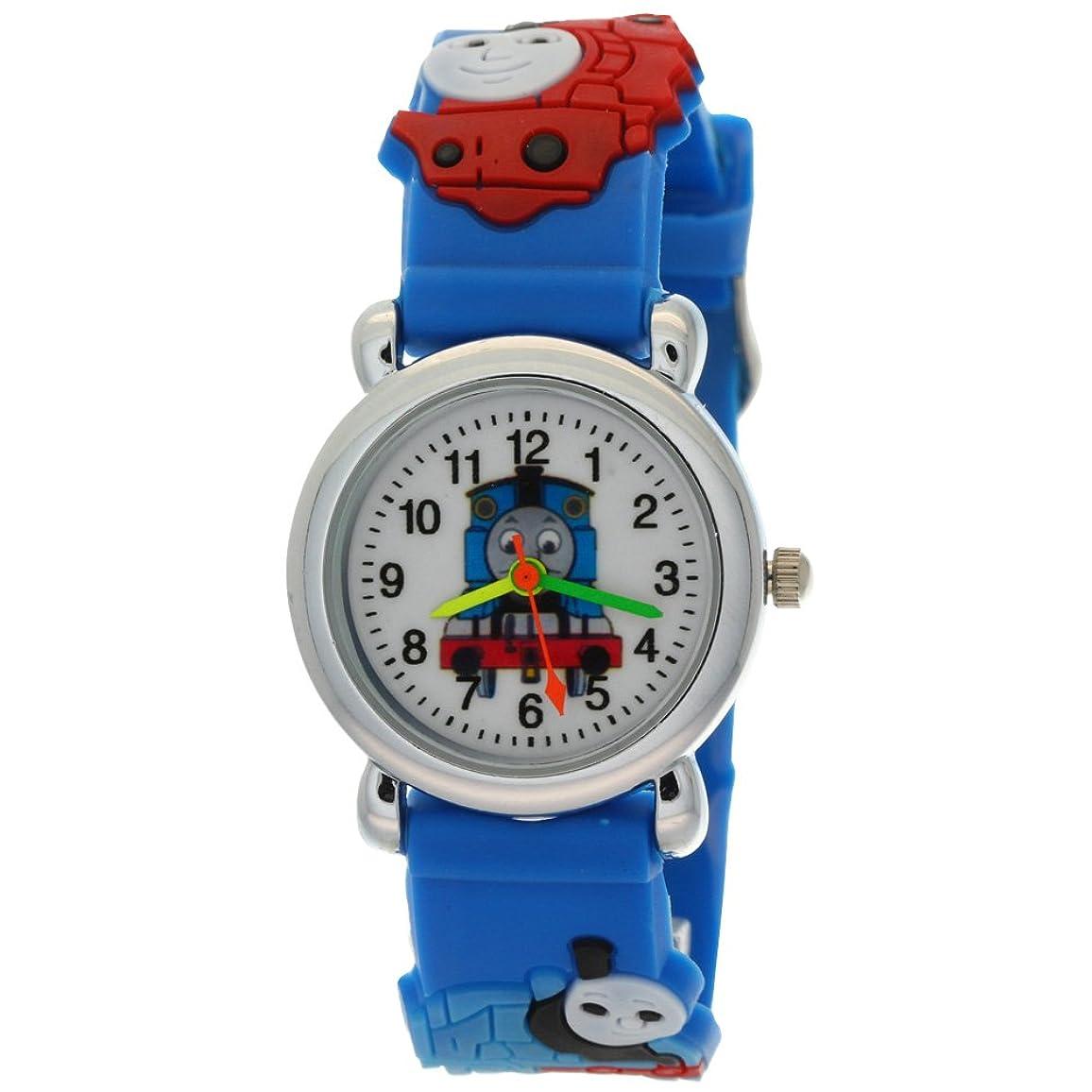そう民兵局TimerMallトーマスタンクエンジンFriends子供ステンレススチールBackアナログクオーツ腕時計 Blue_A