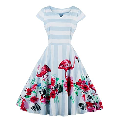 904b60b750bf Olddnew Women 1950 s Retro Cocktail Party Dress - Vintage Flamingo Flora  Cap Sleeve Blue Stripe Rockabilly